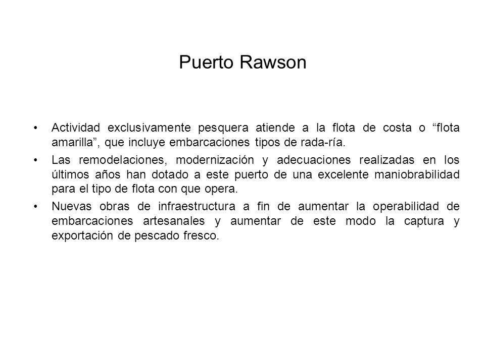 Puerto Rawson Actividad exclusivamente pesquera atiende a la flota de costa o flota amarilla, que incluye embarcaciones tipos de rada-ría.