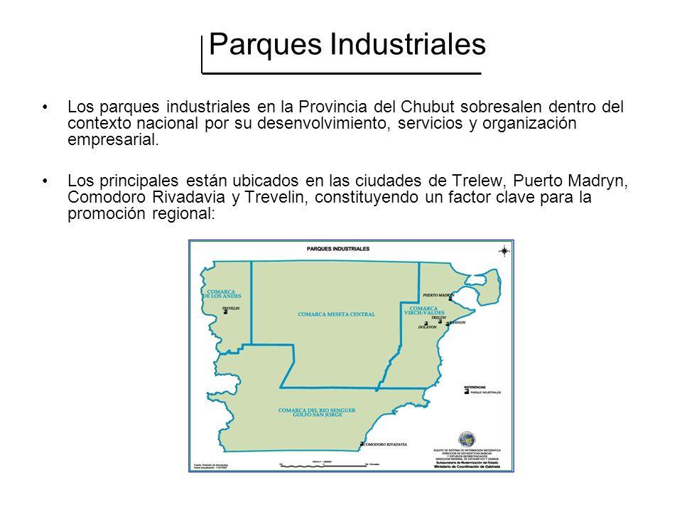Parques Industriales Los parques industriales en la Provincia del Chubut sobresalen dentro del contexto nacional por su desenvolvimiento, servicios y organización empresarial.