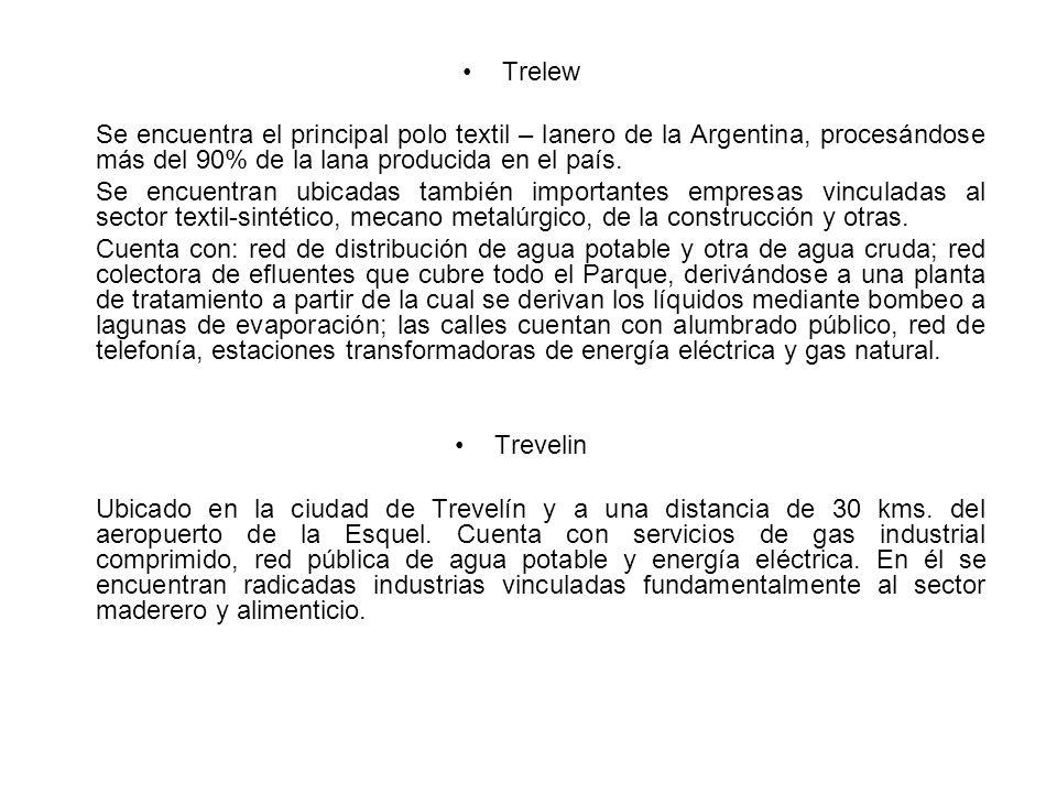 Trelew Se encuentra el principal polo textil – lanero de la Argentina, procesándose más del 90% de la lana producida en el país.