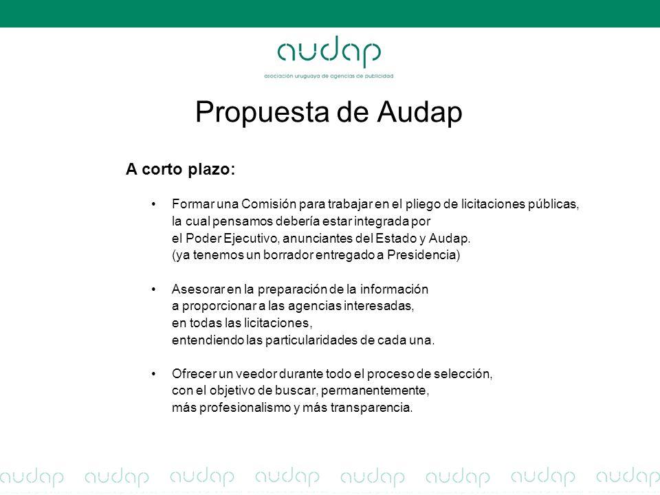 Propuesta de Audap Formar una Comisión para trabajar en el pliego de licitaciones públicas, la cual pensamos debería estar integrada por el Poder Ejecutivo, anunciantes del Estado y Audap.