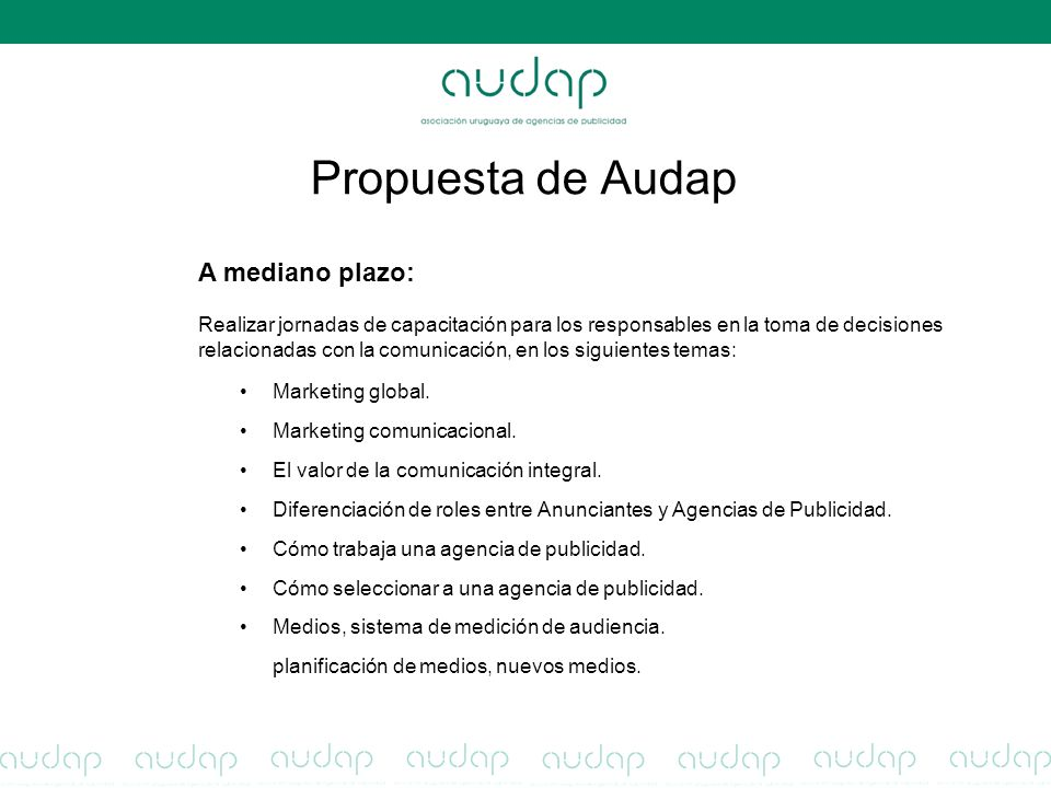 Propuesta de Audap Marketing global. Marketing comunicacional.