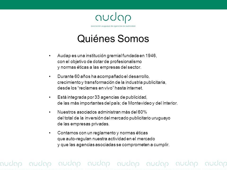 Quiénes Somos Audap es una institución gremial fundada en 1946, con el objetivo de dotar de profesionalismo y normas éticas a las empresas del sector.