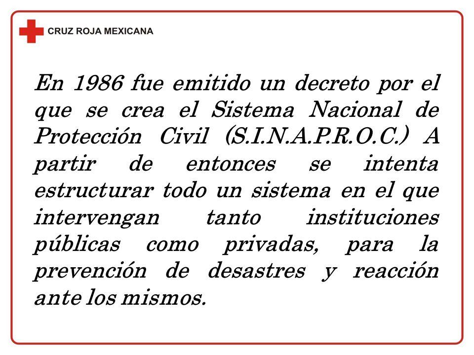 En 1986 fue emitido un decreto por el que se crea el Sistema Nacional de Protección Civil (S.I.N.A.P.R.O.C.) A partir de entonces se intenta estructur