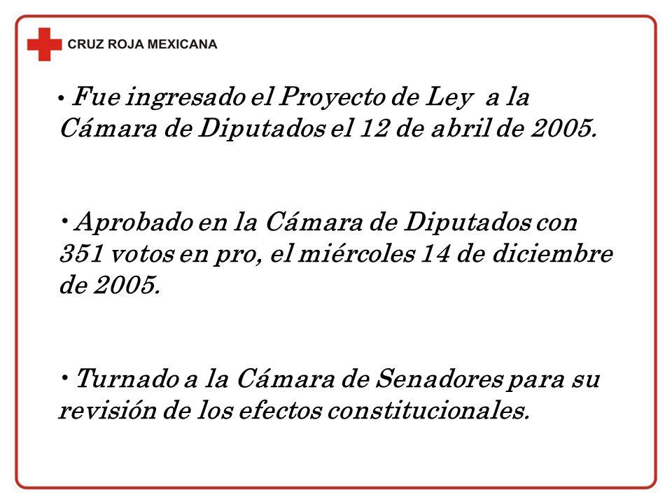 Fue ingresado el Proyecto de Ley a la Cámara de Diputados el 12 de abril de 2005. Aprobado en la Cámara de Diputados con 351 votos en pro, el miércole