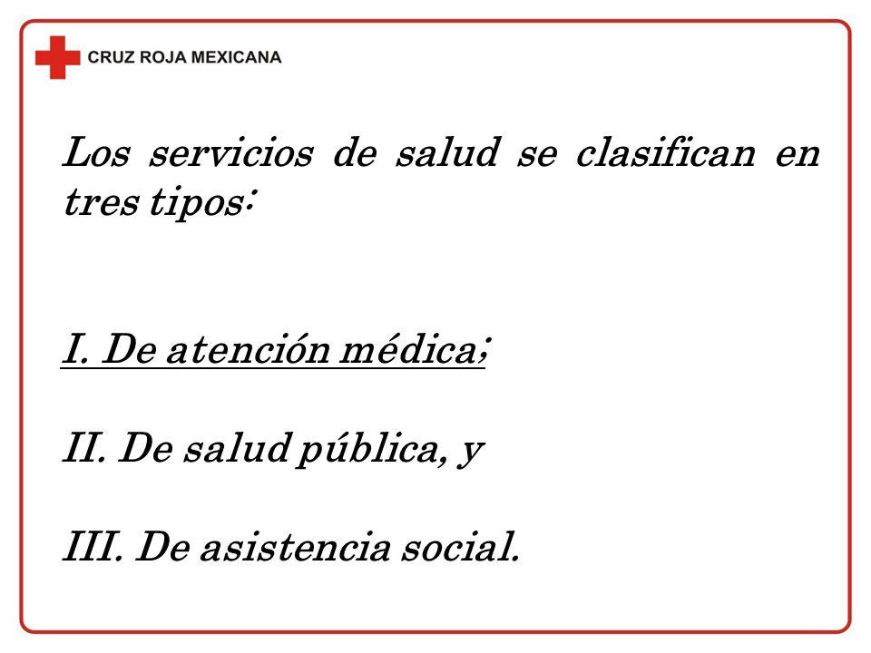 Los servicios de salud se clasifican en tres tipos: I. De atención médica; II. De salud pública, y III. De asistencia social.