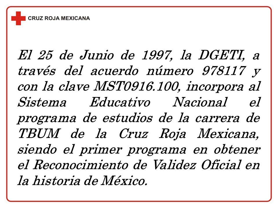 El 25 de Junio de 1997, la DGETI, a través del acuerdo número 978117 y con la clave MST0916.100, incorpora al Sistema Educativo Nacional el programa d