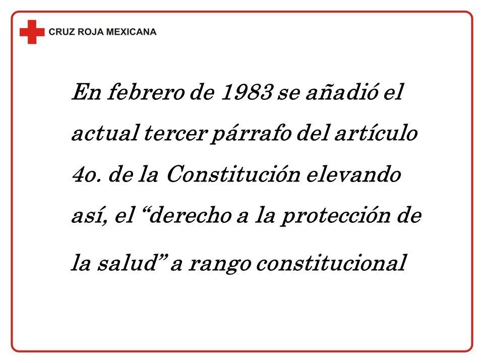 En febrero de 1983 se añadió el actual tercer párrafo del artículo 4o. de la Constitución elevando así, el derecho a la protección de la salud a rango