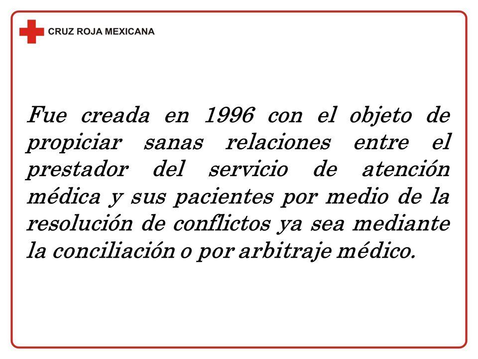 Fue creada en 1996 con el objeto de propiciar sanas relaciones entre el prestador del servicio de atención médica y sus pacientes por medio de la reso