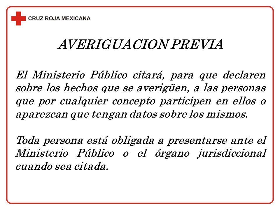 AVERIGUACION PREVIA El Ministerio Público citará, para que declaren sobre los hechos que se averigüen, a las personas que por cualquier concepto parti