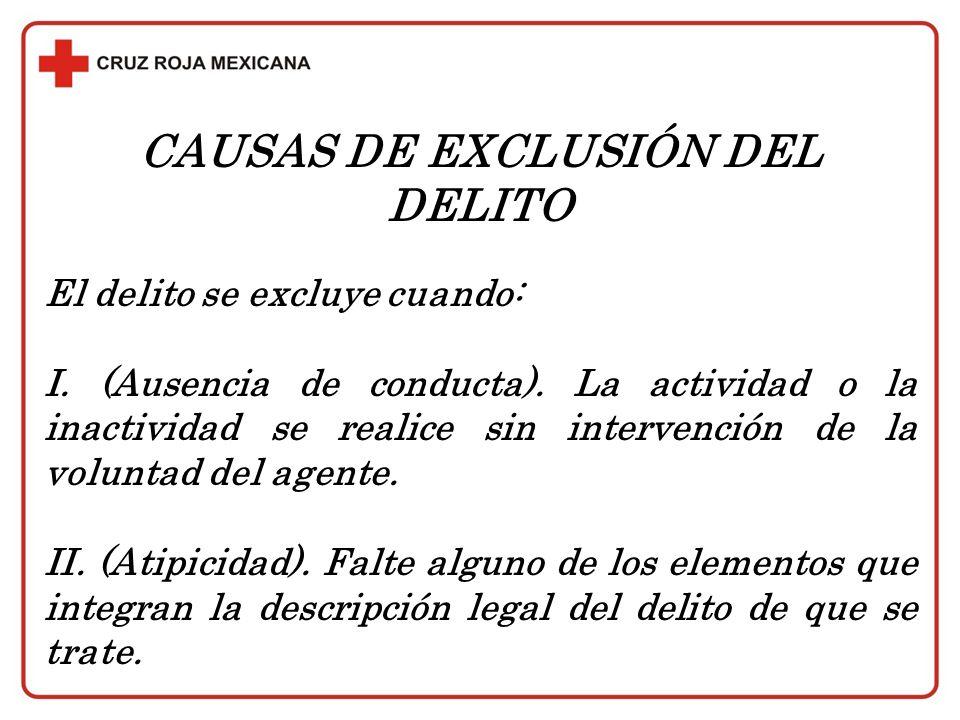 CAUSAS DE EXCLUSIÓN DEL DELITO El delito se excluye cuando: I. (Ausencia de conducta). La actividad o la inactividad se realice sin intervención de la
