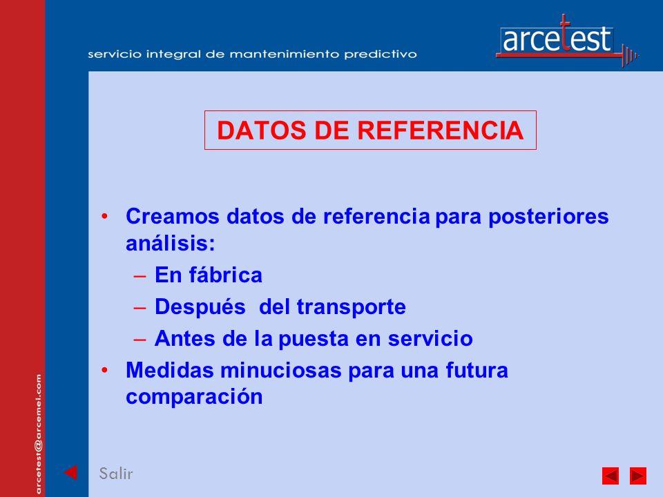 PORTADA Salir DATOS DE REFERENCIA Creamos datos de referencia para posteriores análisis: –En fábrica –Después del transporte –Antes de la puesta en servicio Medidas minuciosas para una futura comparación