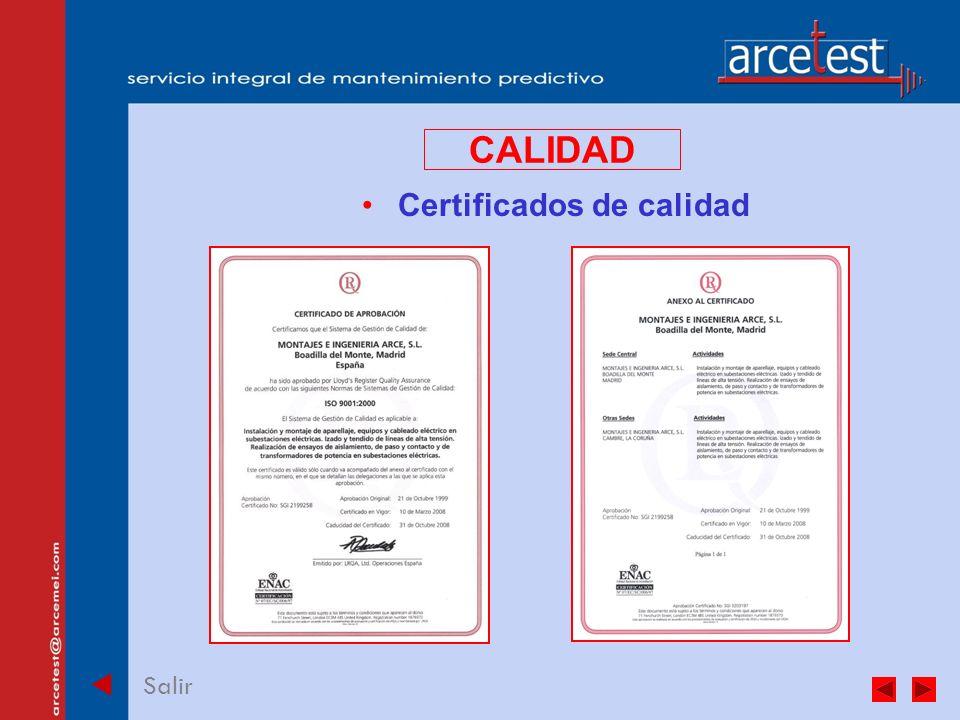 PORTADA Salir CALIDAD Certificados de calidad