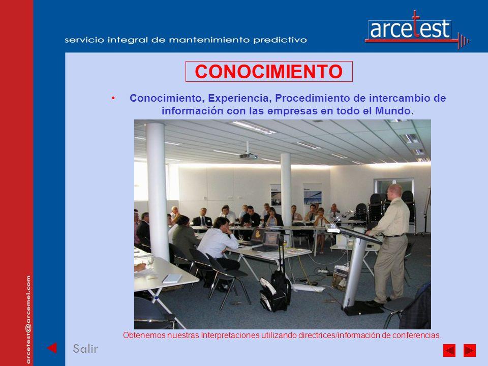 PORTADA Salir CONOCIMIENTO Conocimiento, Experiencia, Procedimiento de intercambio de información con las empresas en todo el Mundo.