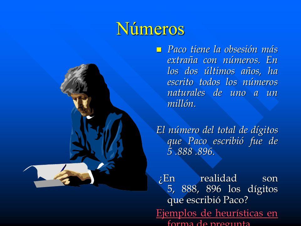 Números Paco tiene la obsesión más extraña con números. En los dos últimos años, ha escrito todos los números naturales de uno a un millón. El número