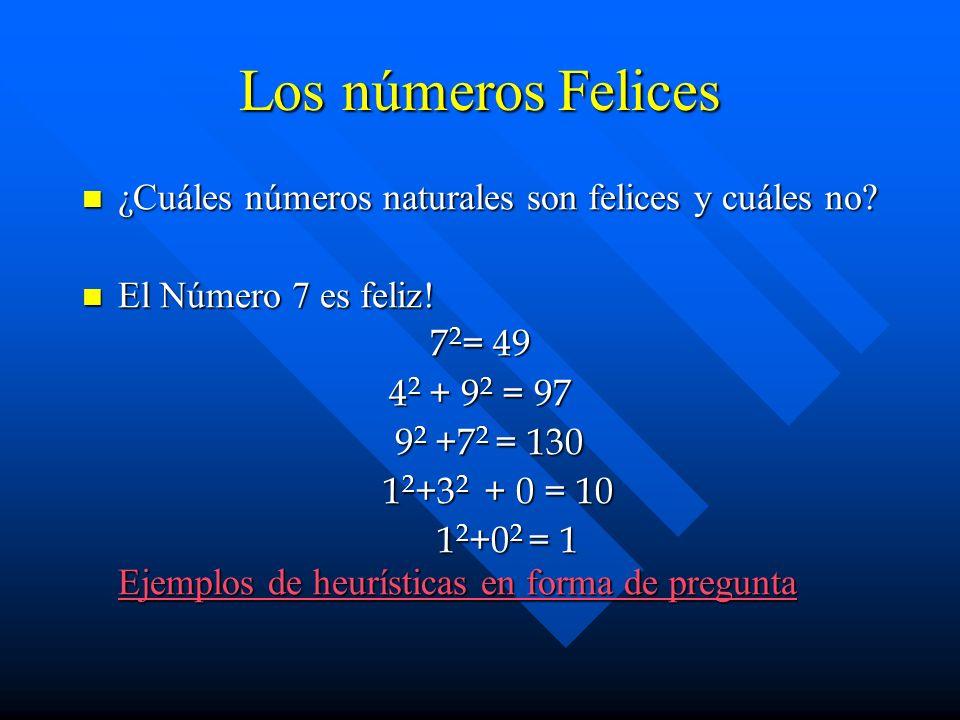 Los números Felices ¿Cuáles números naturales son felices y cuáles no? ¿Cuáles números naturales son felices y cuáles no? El Número 7 es feliz! El Núm