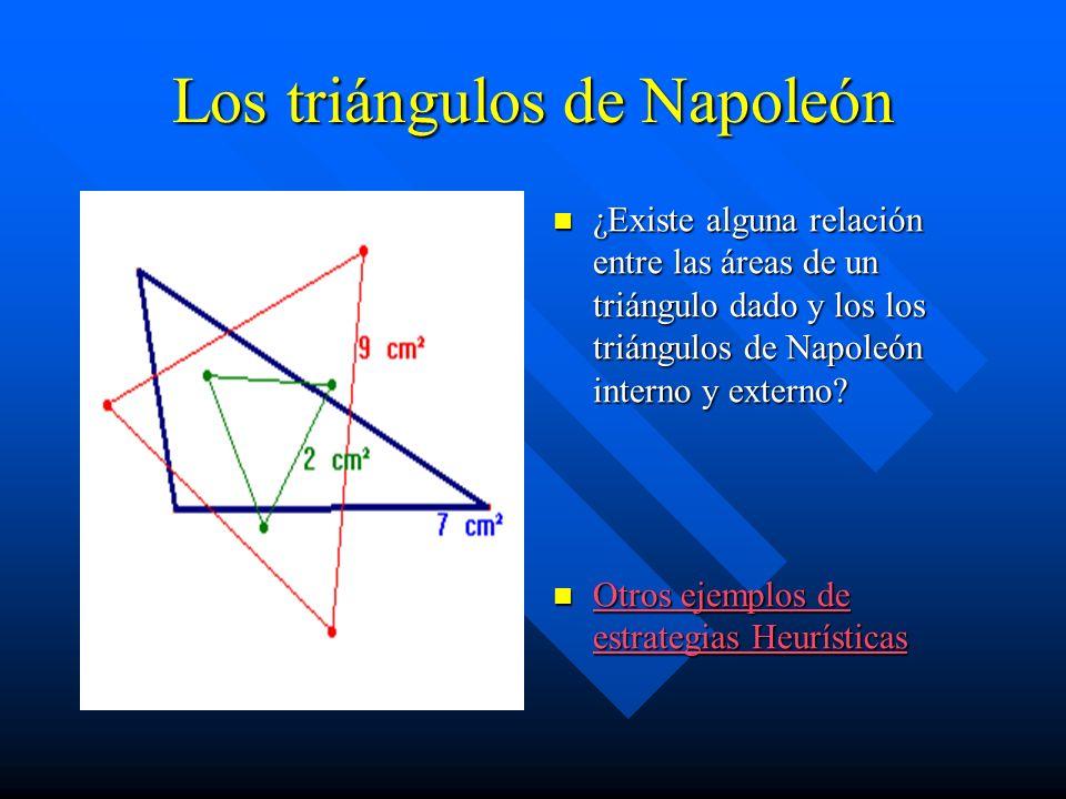 Los triángulos de Napoleón ¿Existe alguna relación entre las áreas de un triángulo dado y los los triángulos de Napoleón interno y externo? Otros ejem