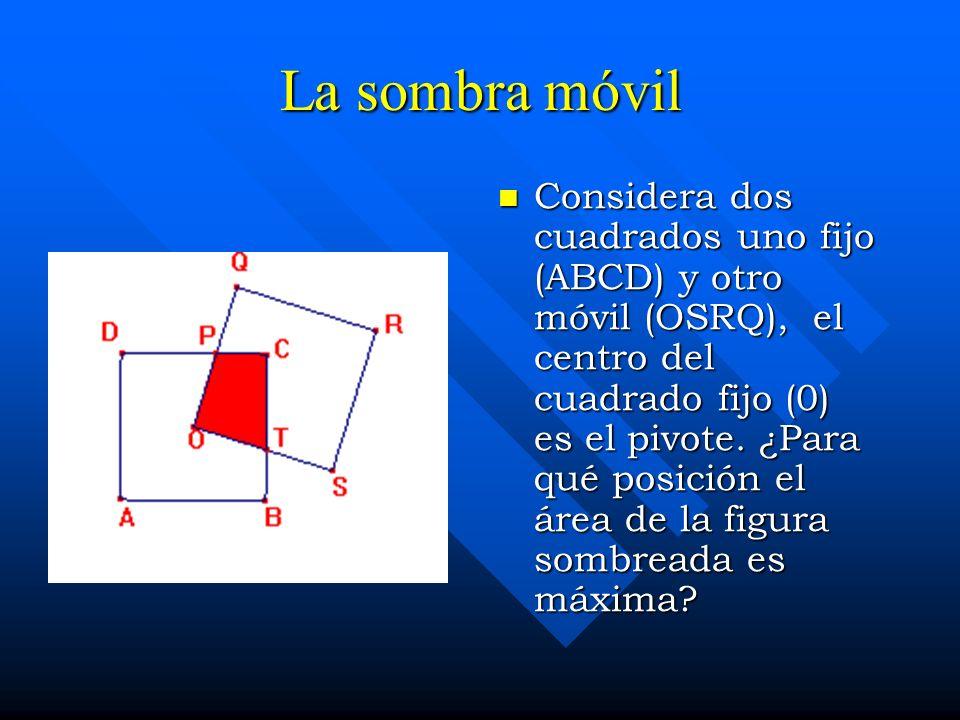 La sombra móvil Considera dos cuadrados uno fijo (ABCD) y otro móvil (OSRQ), el centro del cuadrado fijo (0) es el pivote. ¿Para qué posición el área