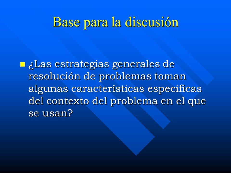 Base para la discusión ¿Las estrategias generales de resolución de problemas toman algunas características especificas del contexto del problema en el