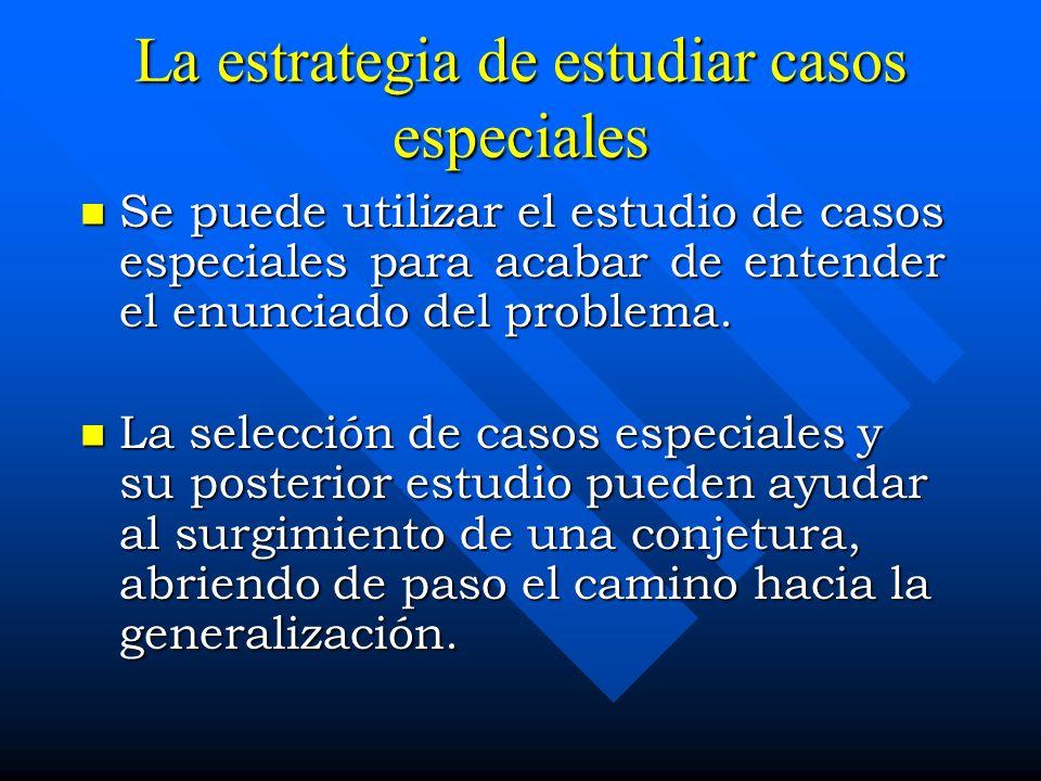 La estrategia de estudiar casos especiales Se puede utilizar el estudio de casos especiales para acabar de entender el enunciado del problema. Se pued