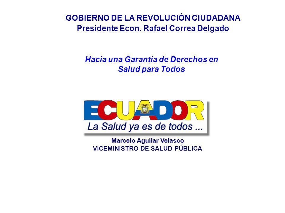 Hacia una Garantía de Derechos en Salud para Todos GOBIERNO DE LA REVOLUCIÓN CIUDADANA Presidente Econ. Rafael Correa Delgado Marcelo Aguilar Velasco