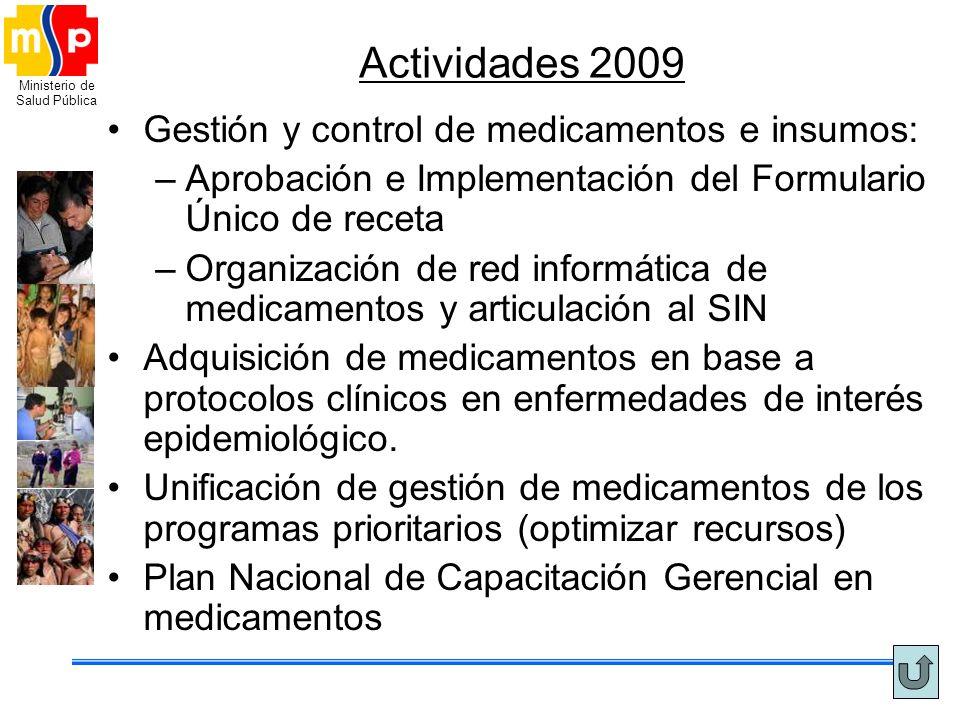 Ministerio de Salud Pública Actividades 2009 Gestión y control de medicamentos e insumos: –Aprobación e Implementación del Formulario Único de receta