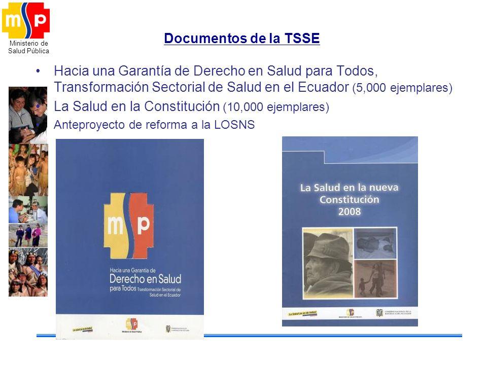 Ministerio de Salud Pública Documentos de la TSSE Hacia una Garantía de Derecho en Salud para Todos, Transformación Sectorial de Salud en el Ecuador (