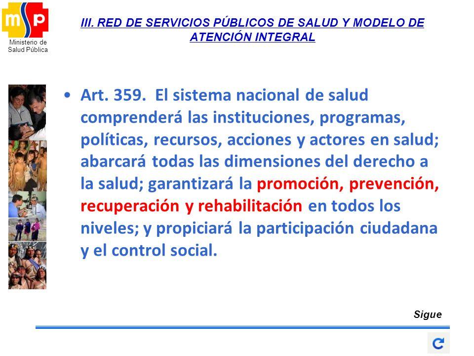 Ministerio de Salud Pública III. RED DE SERVICIOS PÚBLICOS DE SALUD Y MODELO DE ATENCIÓN INTEGRAL Art. 359. El sistema nacional de salud comprenderá l