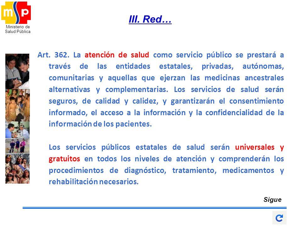 Ministerio de Salud Pública III. Red… Art. 362. La atención de salud como servicio público se prestará a través de las entidades estatales, privadas,