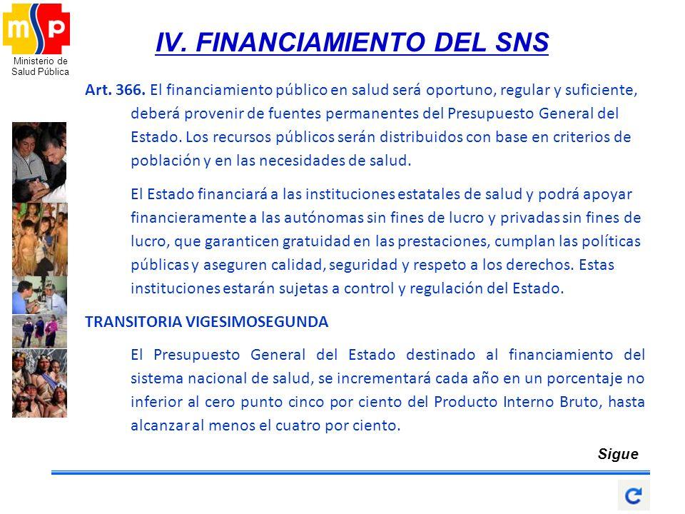 Ministerio de Salud Pública IV. FINANCIAMIENTO DEL SNS Art. 366. El financiamiento público en salud será oportuno, regular y suficiente, deberá proven