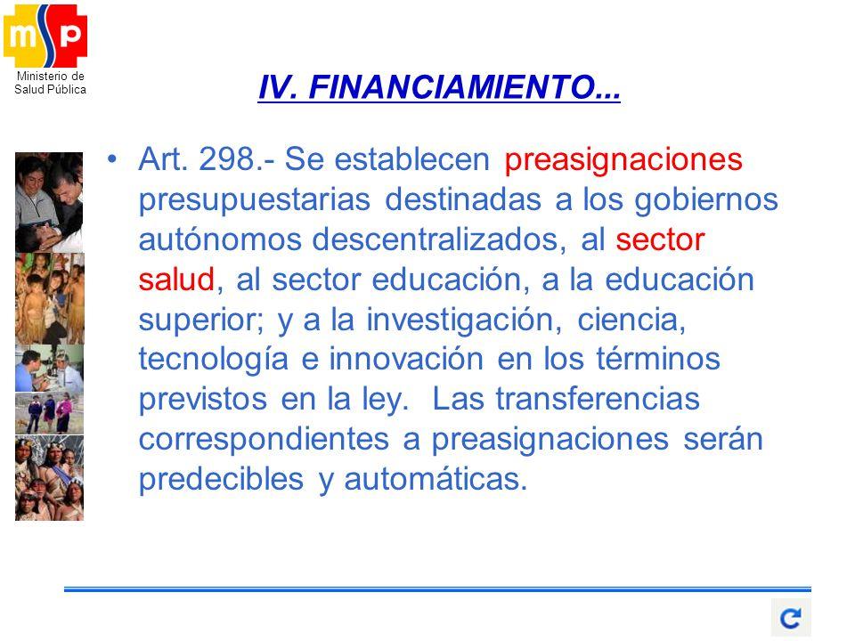 Ministerio de Salud Pública Art. 298.- Se establecen preasignaciones presupuestarias destinadas a los gobiernos autónomos descentralizados, al sector