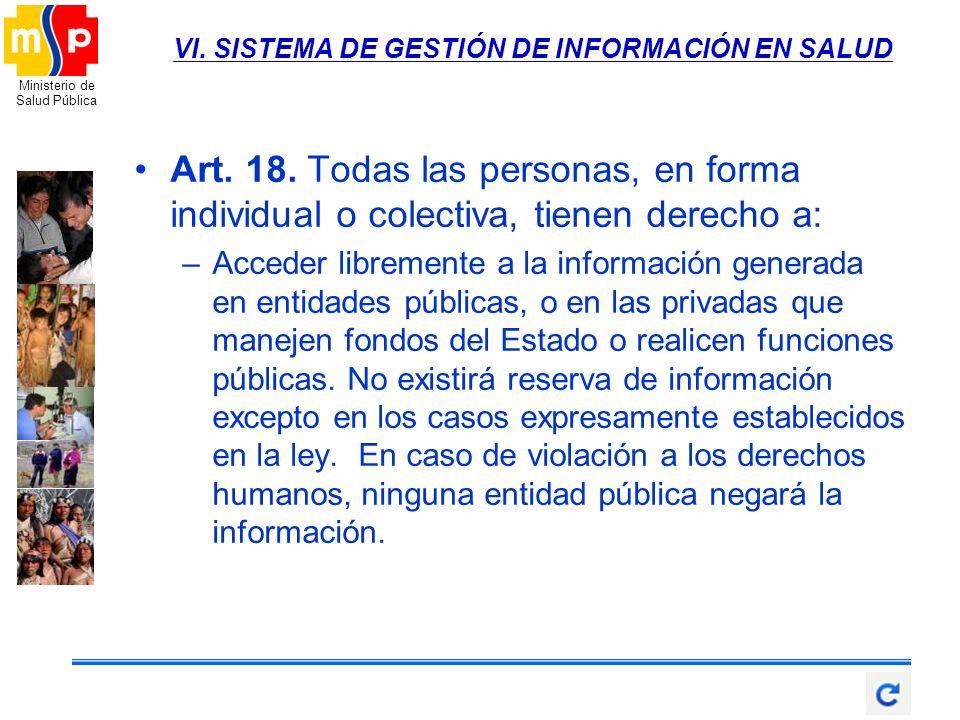 Ministerio de Salud Pública VI. SISTEMA DE GESTIÓN DE INFORMACIÓN EN SALUD Art. 18. Todas las personas, en forma individual o colectiva, tienen derech