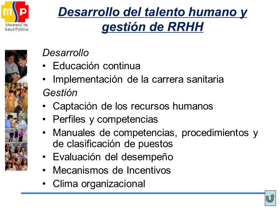 Ministerio de Salud Pública Desarrollo del talento humano y gestión de RRHH Desarrollo Educación continua Implementación de la carrera sanitaria Gesti