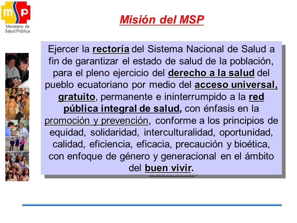 Ministerio de Salud Pública Misión del MSP rectoría derecho a la salud acceso universal, gratuito promoción y prevención buen vivir. Ejercer la rector