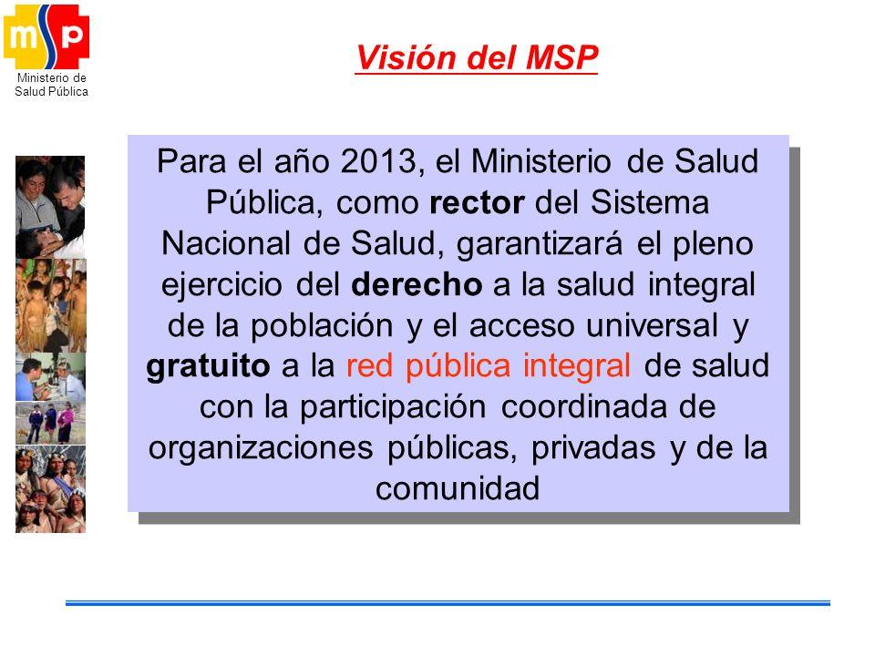 Ministerio de Salud Pública Visión del MSP Para el año 2013, el Ministerio de Salud Pública, como rector del Sistema Nacional de Salud, garantizará el