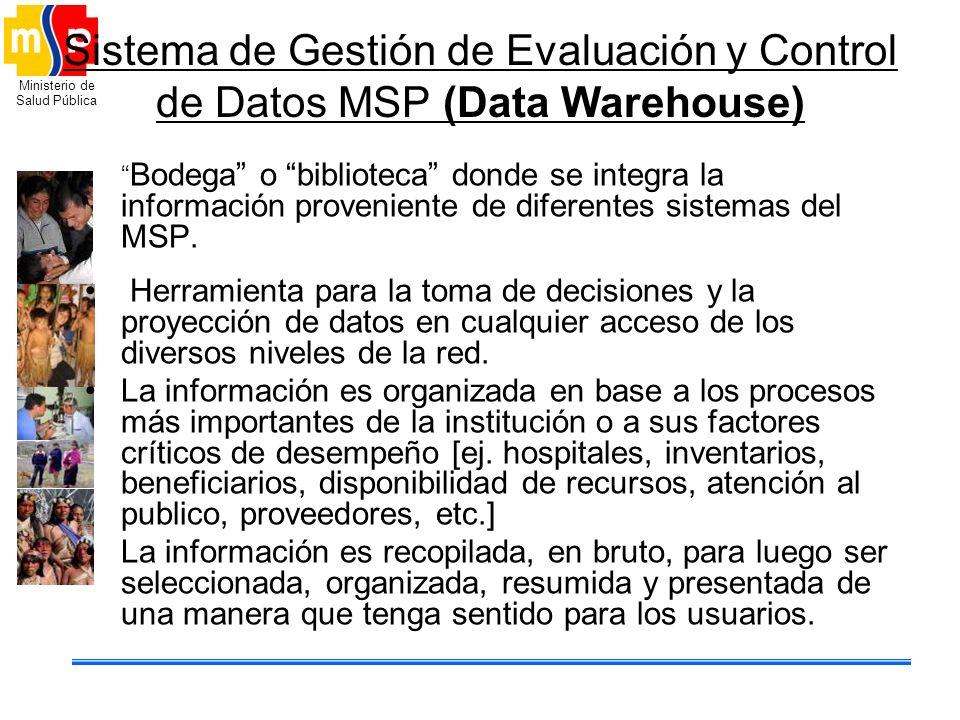 Ministerio de Salud Pública Sistema de Gestión de Evaluación y Control de Datos MSP (Data Warehouse) Bodega o biblioteca donde se integra la informaci