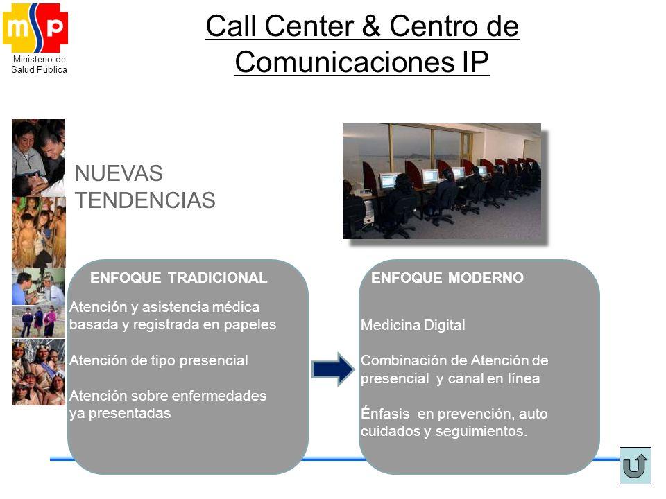 Ministerio de Salud Pública Call Center & Centro de Comunicaciones IP ENFOQUE TRADICIONAL NUEVAS TENDENCIAS Atención y asistencia médica basada y regi