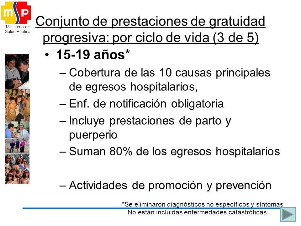 Ministerio de Salud Pública Conjunto de prestaciones de gratuidad progresiva: por ciclo de vida (3 de 5) 15-19 años* –Cobertura de las 10 causas princ