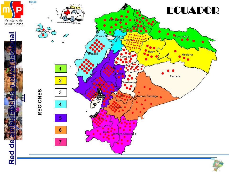 Ministerio de Salud Pública Santa Elena Sto. Dom. ECUADOR Red de ambulancias a nivel nacional … 2 4 1 5 6 7 3 REGIONES