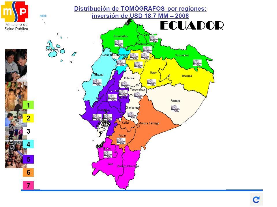 Ministerio de Salud Pública Santa Elena Sto. Dom. ECUADOR 2 4 1 5 6 7 3 REGIONES Distribución de TOMÓGRAFOS por regiones: inversión de USD 18.7 MM – 2