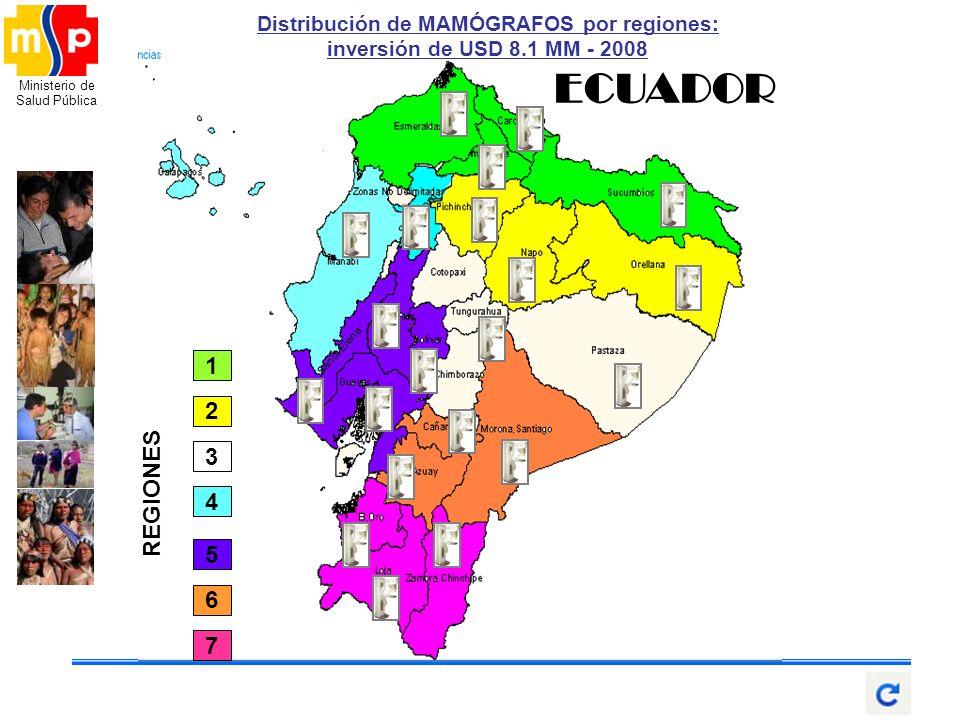 Ministerio de Salud Pública Santa Elena Sto. Dom. ECUADOR 2 4 1 5 6 7 3 REGIONES Distribución de MAMÓGRAFOS por regiones: inversión de USD 8.1 MM - 20