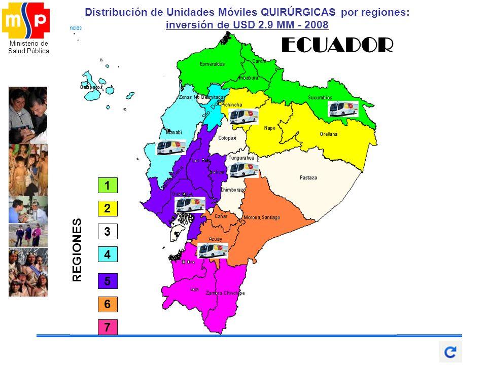 Ministerio de Salud Pública Santa Elena Sto. Dom. ECUADOR 2 4 1 5 6 7 3 REGIONES Distribución de Unidades Móviles QUIRÚRGICAS por regiones: inversión