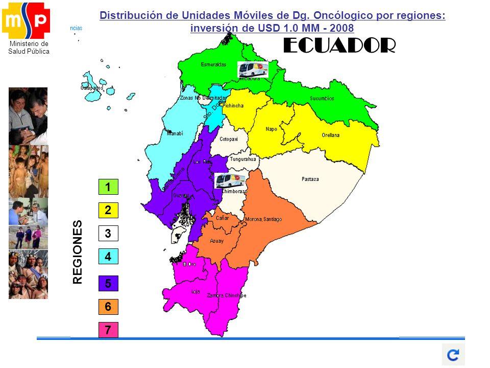Ministerio de Salud Pública Santa Elena Sto. Dom. ECUADOR 2 4 1 5 6 7 3 REGIONES Distribución de Unidades Móviles de Dg. Oncólogico por regiones: inve
