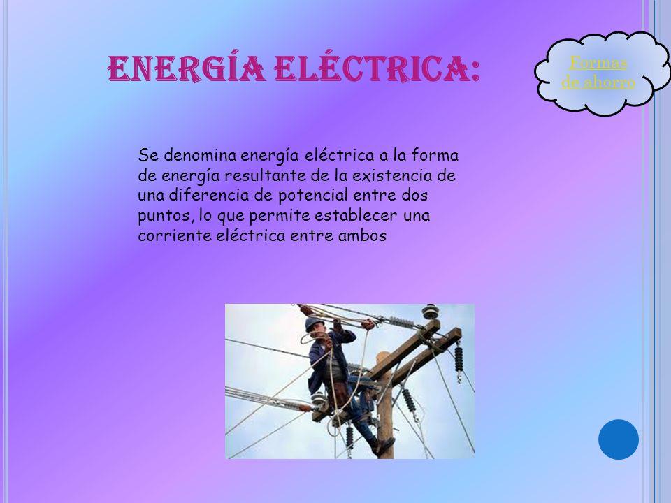 Energía eléctrica: Se denomina energía eléctrica a la forma de energía resultante de la existencia de una diferencia de potencial entre dos puntos, lo