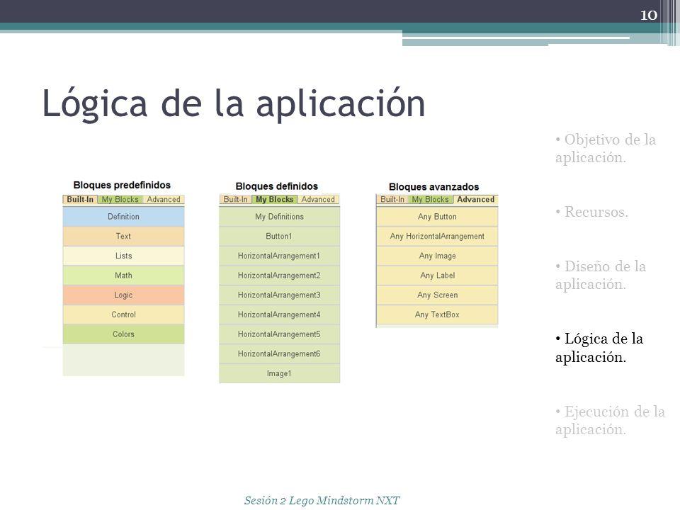 Lógica de la aplicación 10 Objetivo de la aplicación. Recursos. Diseño de la aplicación. Lógica de la aplicación. Ejecución de la aplicación. Sesión 2