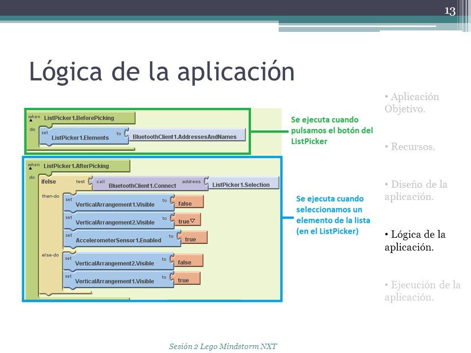Lógica de la aplicación 13 Aplicación Objetivo. Recursos. Diseño de la aplicación. Lógica de la aplicación. Ejecución de la aplicación. Sesión 2 Lego