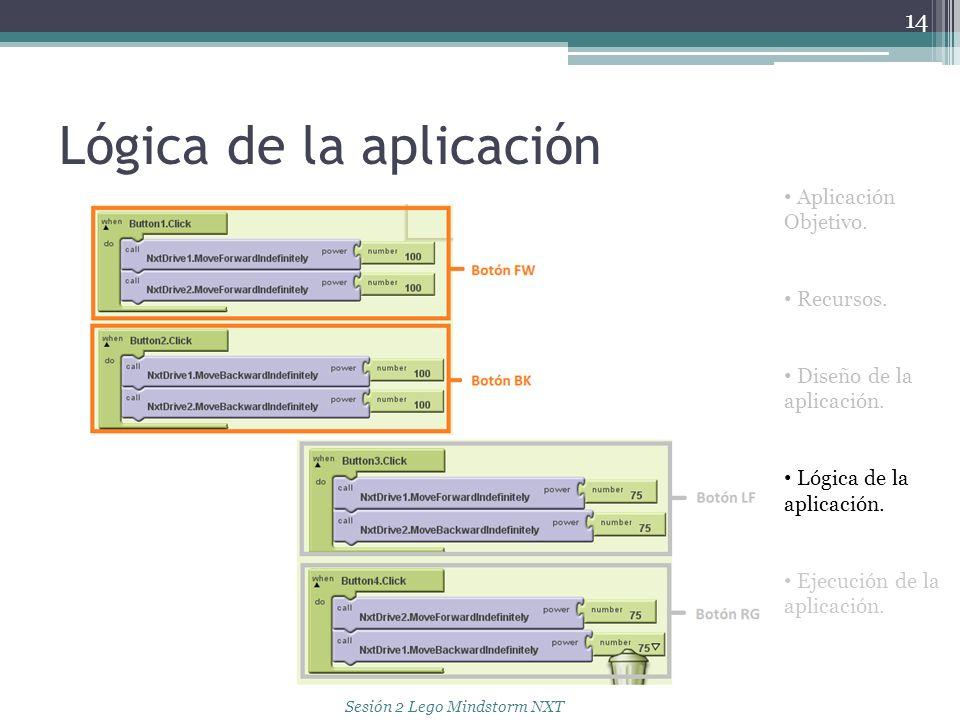 Lógica de la aplicación 14 Aplicación Objetivo. Recursos. Diseño de la aplicación. Lógica de la aplicación. Ejecución de la aplicación. Sesión 2 Lego