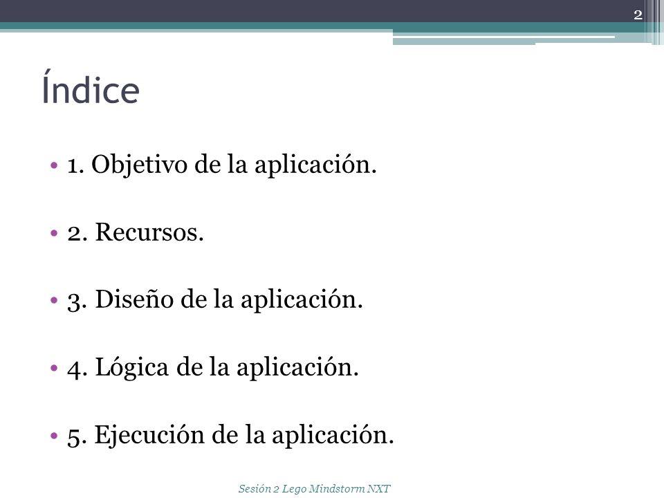 Índice 1. Objetivo de la aplicación. 2. Recursos. 3. Diseño de la aplicación. 4. Lógica de la aplicación. 5. Ejecución de la aplicación. 2 Sesión 2 Le