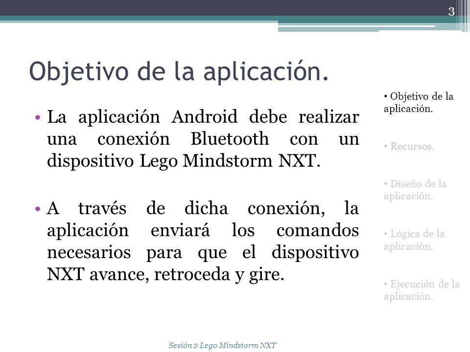 Objetivo de la aplicación. La aplicación Android debe realizar una conexión Bluetooth con un dispositivo Lego Mindstorm NXT. A través de dicha conexió