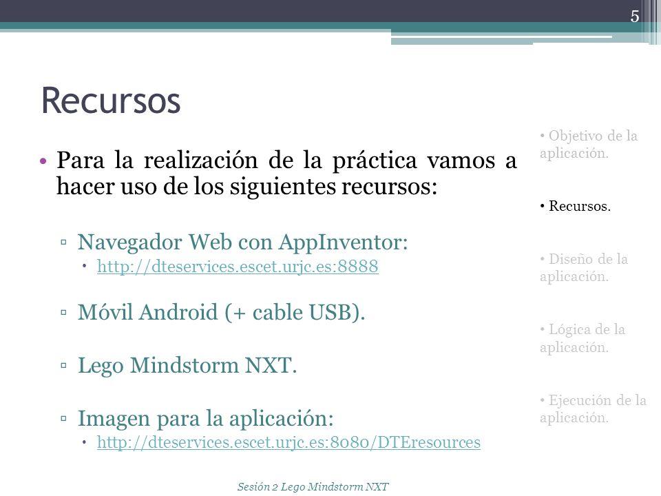 Recursos Para la realización de la práctica vamos a hacer uso de los siguientes recursos: Navegador Web con AppInventor: http://dteservices.escet.urjc