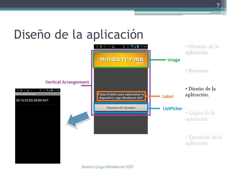 Diseño de la aplicación 7 Objetivo de la aplicación. Recursos. Diseño de la aplicación. Lógica de la aplicación. Ejecución de la aplicación. Sesión 2